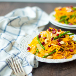 Butternut Squash Noodles with Asparagus, Cashews and Pomegranate