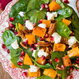 Butternut Squash, Pomegranate and Goat Cheese Spinach Salad with Red Wine V