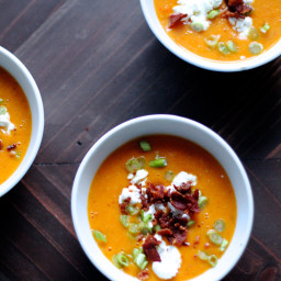 Butternut Squash Soup with Bacon & Goat Cheese