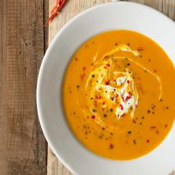 Butternut squash soup with chilli and creme fraiche