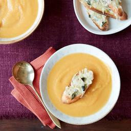 Butternut Squash Soup with Fontina Cheese Crostini