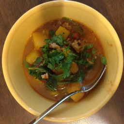 Butternut Stew with Pork and Spinach