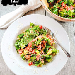 Caesar Salad with Salmon, Cucumbers, Tomatoes and Parmesan Cheese