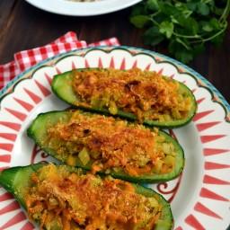 Calabacitas gratinadas rellenas de vegetales