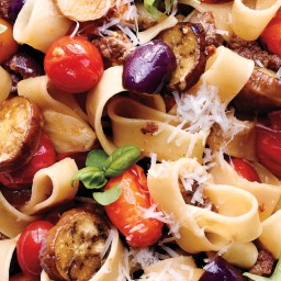 Calamarata with Roasted Eggplants, Tomatoes, and Olives