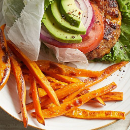California Turkey Burgers & Baked Sweet Potato Fries