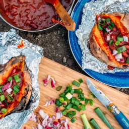 Campfire Baked Sweet Potatoes + Chili