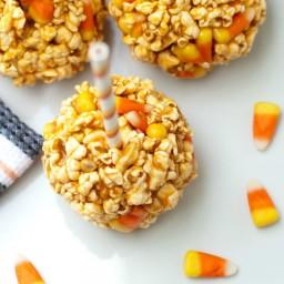 Candy Corn Popcorn Balls