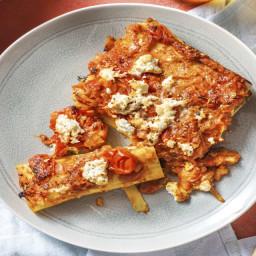 Cannelloni gevuld met boerengehakt en spinazie met ricotta en een saus van