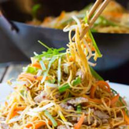 Cantonese Pan Fried Noodles (Pork Lo Mein)