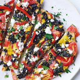 Capsicum, kale and feta frittata