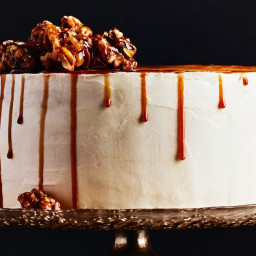 Caramel Apple Drip Cake with Candied Walnuts