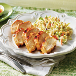 Caramel Hickory Chicken With Crunchy Asian Slaw