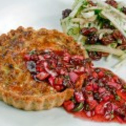 Caramelized Garlic and Goat Cheese Tart with Lingonberry Salsa