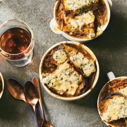 Caramelized Onion and Bread Soupwith Brûléed Blue Cheese