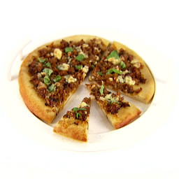 Caramelized Onion, Sausage and Basil Pizza