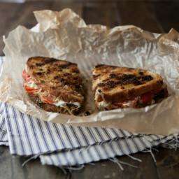 Caramelized Onions, Pesto, and Grilled Mozzarella Sandwich