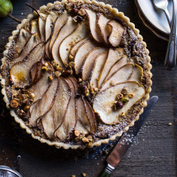 Caramelized Pear and Hazelnut Crumble Tart