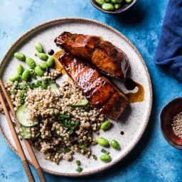 Caramelized Teriyaki Salmon with Sesame Toasted Buckwheat.