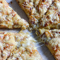 Caramelized Onion, Gruyere + Pepper Bacon Whole Wheat Pizza