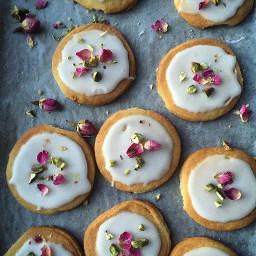 Cardomom, Rosewater and Pistachio Shortbread Cookies
