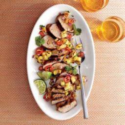 Caribbean Grilled Pork Tenderloin with Grilled Pineapple Salsa