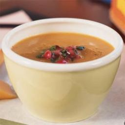 Carrot and Sweet Potato Soup with Cranberry Relish