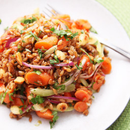Carrot and Rye Berry Salad with Celery, Cilantro, and Marcona Almonds