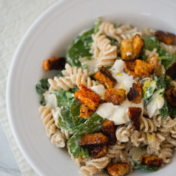 Cashew Cream Pasta with Lemon, Spinach, Tempeh Bacon Bits