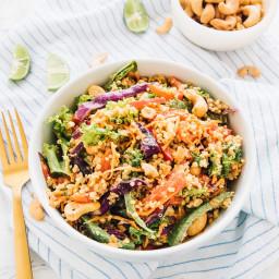 Cashew Thai Quinoa Salad with Peanut Ginger Sauce