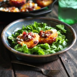 Cast Iron Roasted Peaches with Bacon, Bleu Cheese and Rosemary