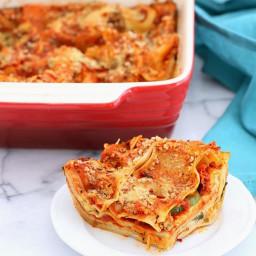 Cauliflower Alfredo Spinach Artichoke Lasagna. Vegan Nut-free Recipe