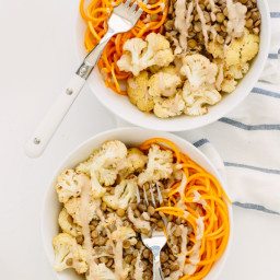 Cauliflower and Lentil Butternut Squash Noodle Bowl with Maple Tahini