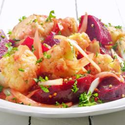 Cauliflower & Beet Salad in Curry-Mustard Vinaigrette