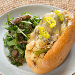 Cauliflower Cheesesteak Sandwicheswith Warm Mushroom and Arugula Salad