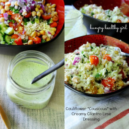 """Cauliflower """"Couscous"""" with Creamy Cilantro Lime Dressing"""