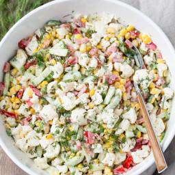 Cauliflower Cucumber Corn Salad