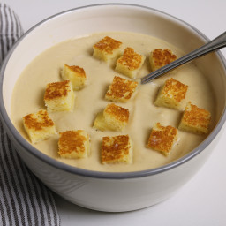 Cauliflower Soup with Grilled Cheese Croutons