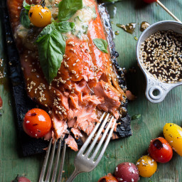 Cedar Plank Grilled Sesame Salmon with Kimchi Miso Butter & Grilled Tomato