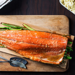 Cedar Planked Salmon with Maple Glaze and Mustard Mashed Potatoes