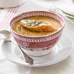 Celeriac and Apple Soup with Blue Cheese Toasts