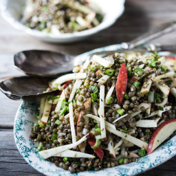 Celeriac, Apple and Lentil Salad with Cumin Seed Dressing