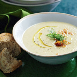 Celery and parsnip soup with bottarga