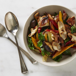 Chard and Chard Stems with Sautéed Shiitakes