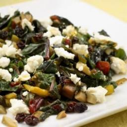 Chard with Green Olives, Currants and Goat Cheese