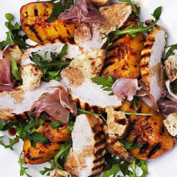 Chargrilled chicken, peach and prosciutto salad