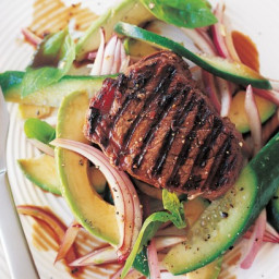 Chargrilled chilli beef with avocado