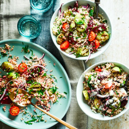 Charred Brussels, beetroot and bulghar salad