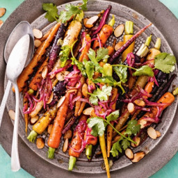 Charred carrots with warm cumin dressing