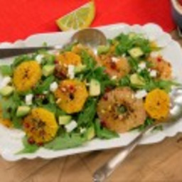 Charred Citrus Salad with Pistachios and Goat Cheese over Arugula